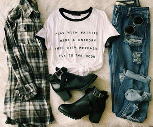 autumn, flannel, and of image