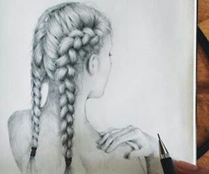 draw, back&white, and hair image
