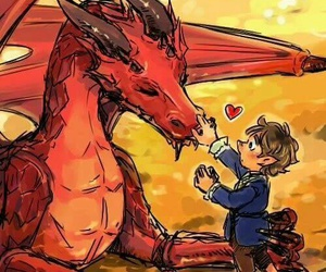 hobbit, smaug, and bilbo image