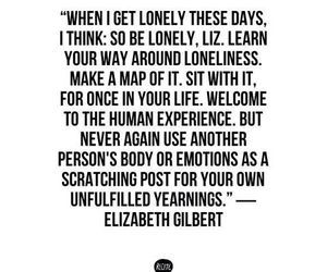 lonely, quote, and elizabeth gilbert image