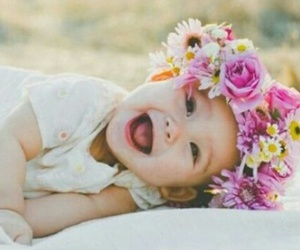 baby, flowers, and cute image