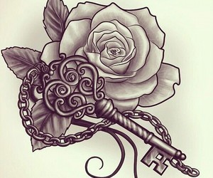 rose, tattoo, and key image