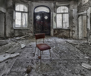 abandoned, building, and chair image