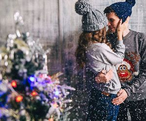 couple, winter, and kiss image