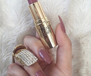lipstick, nails, and gold image