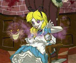 alice, smile cat, and alice in wonderland image