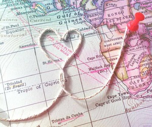 travel, heart, and map image