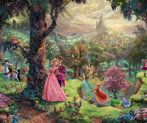 disney, thomas kinkade, and princesses image
