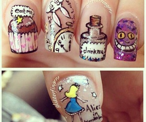 nails, alice in wonderland, and nail art image