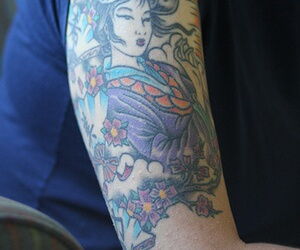 sleeve tattoo and geisha tattoo image