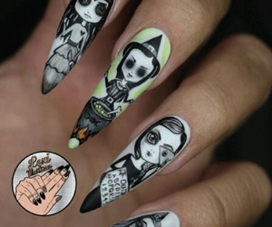 black & white, halloween nail art, and Witches image
