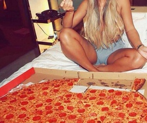 blonde girl, pizza, and beautiful image