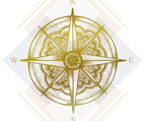 compass, east, and gold image