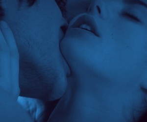 blue, couple, and kiss image