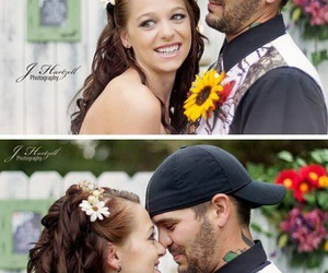bride and groom, camo, and cute couple image