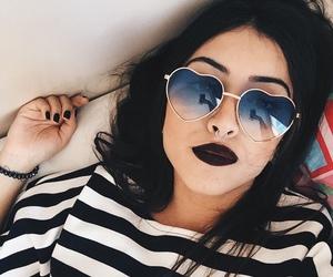girl, black, and sunglasses image