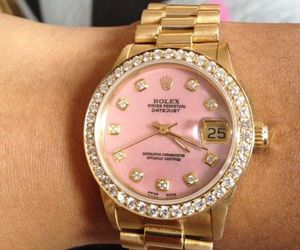 rolex, watch, and pink image