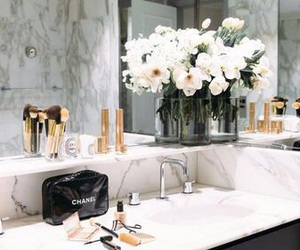 chanel, flowers, and bathroom image