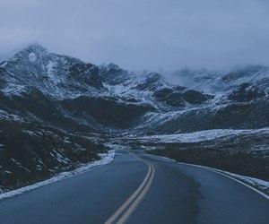 dark, foggy, and mountain image