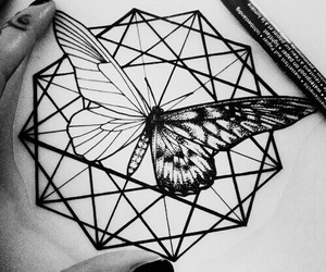 black and white, draw, and tattoo image