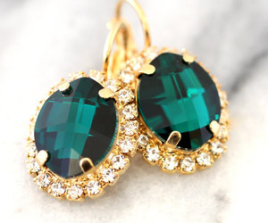 earrings, emerald, and etsy image