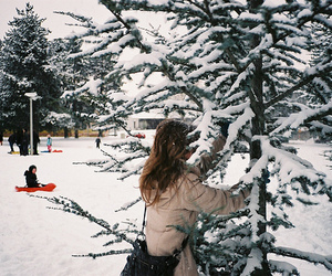 girl, snow, and vintage image
