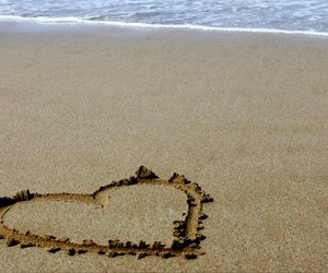 beach, crete, and heart image