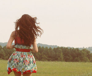 dress, fields, and floral image