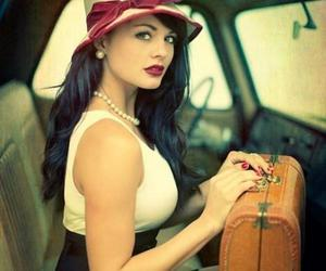 vintage, woman, and hat image