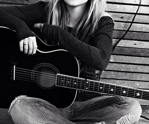 Avril Lavigne, guitar, and black and white image