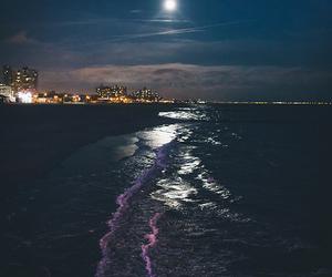 night, beach, and moon image