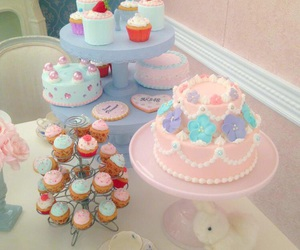 blue, cake, and cupcake image