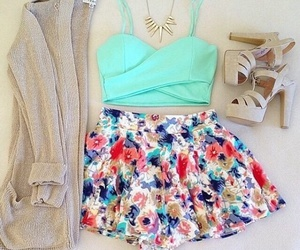 clothes, floral skirt, and necklace image