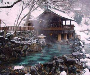 japan, winter, and onsen image