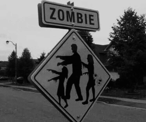 zombie and black and white image