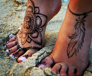 feather, paisley, and feet tattoo image