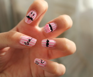 nails, pink, and moustache image