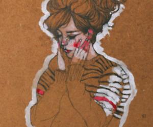 girl, brown, and drawing image