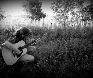 black and white, girl, and guitar image