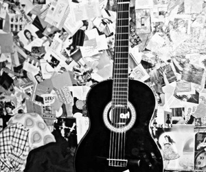 b&w, black, and guitar image