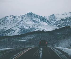 mountains, road, and winter image