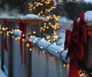 lights, red, and snow image