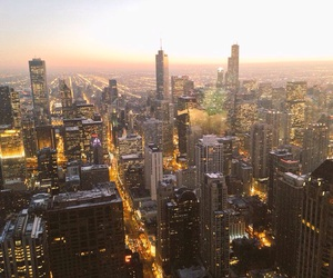 beautiful, chicago, and sunset image