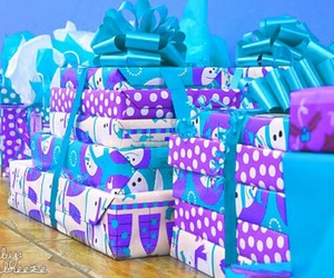 gift, present, and blue image