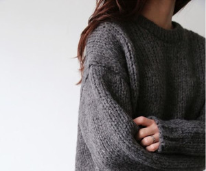 girl, sweater, and grey image