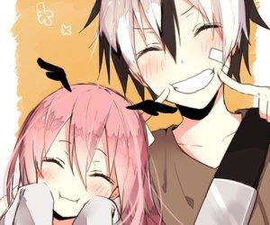 anime, couple, and smile image