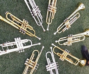 marching band, trumpets, and band camp image