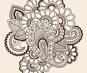 flowers, henna design, and intricate image