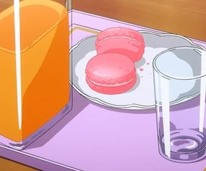 anime, macaroons, and orange juice image