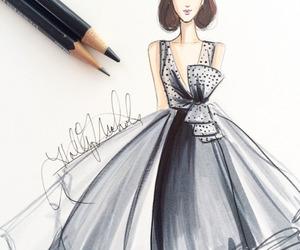 black, drawing, and dress image
